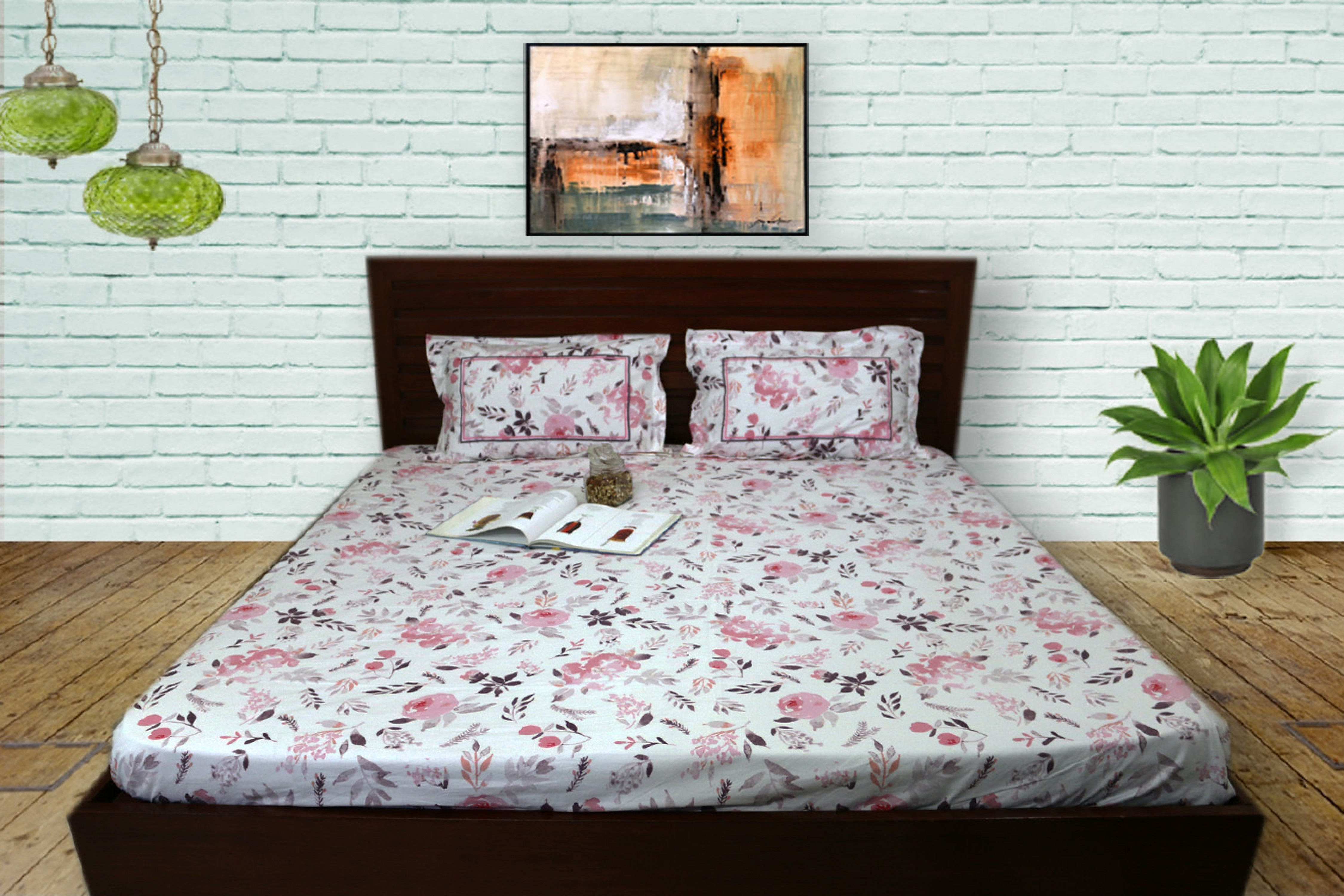 Pink and purple flowers on White bedsheet