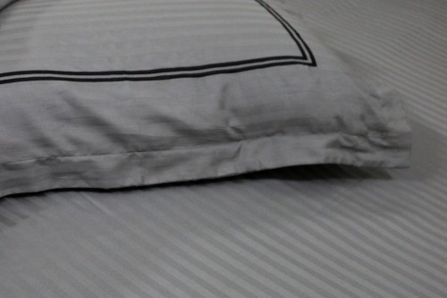 Gray Single Bedsheet with Embroidery on Pillow