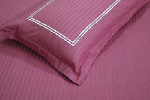 Pink Single Bedsheet with Embroidery on Pillow