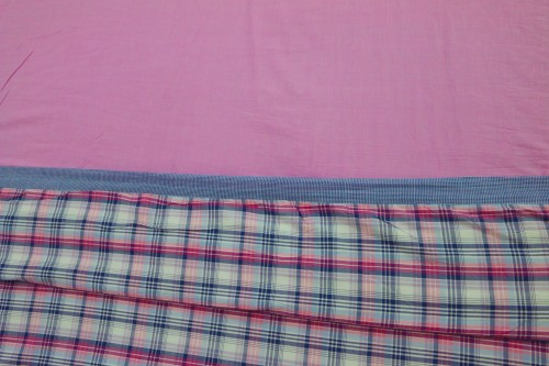 Pink Plain and Check Extra Large Single Dohar