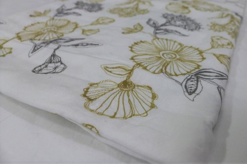 Mustard Charcoal flower embroidery on off white bedsheet