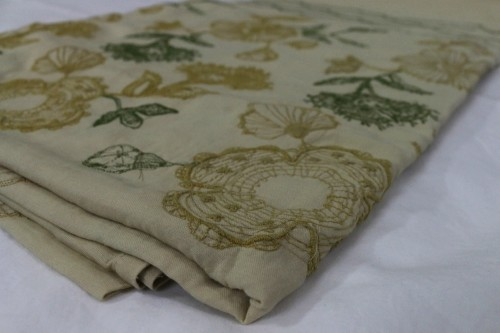 Mustard Olivegreen flower embroidery on beige bedsheet
