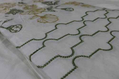 Mustard Olive Green flower embroidery on off white bedsheet