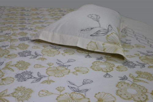 Mustard Charcoal  flower embroidery on Ecru bedsheet