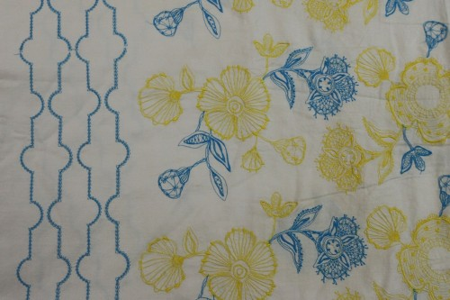Turquoise Blue and Yellow flower embroidery on Beige bedsheet