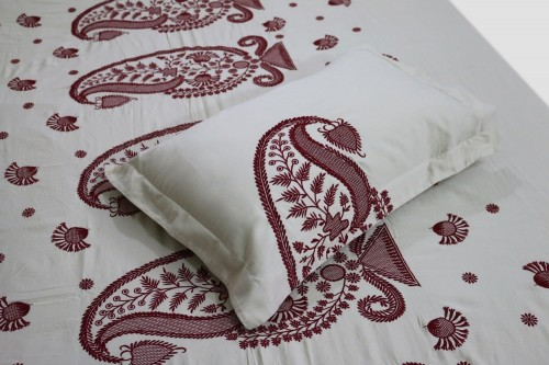 Maroon  paisley embroidery on  Off white bedshhet