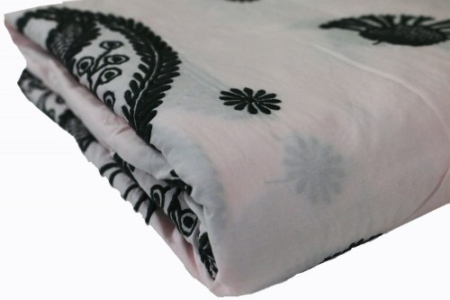 Charcoal  paisley embroidery on Pink bedsheet