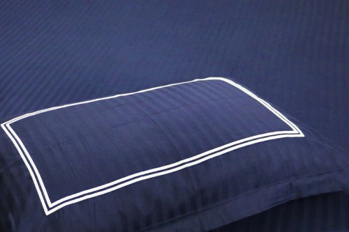 Navy Single Bedsheet with Embroidery on Pillow