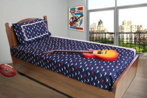 Navy colored bird print with striped panel Single Bedsheet