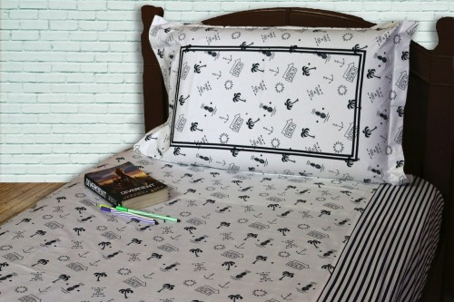 Navy Marine print with striped panel Single Bedsheet