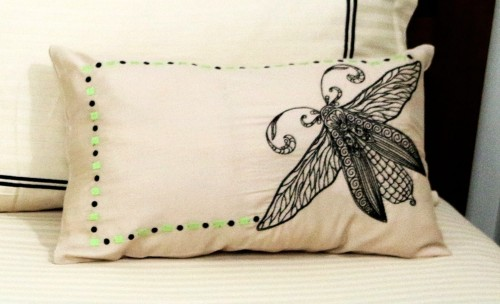 Black Embroidered Bug on Beige Lumbar Cushion Cover