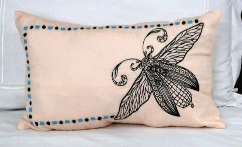 Black Embroidered Bug on Peach Lumbar Cushion Cover