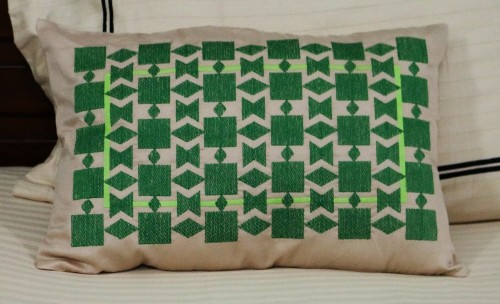Green Geometric embroidery  on Beige Lumbar Cushion Cover
