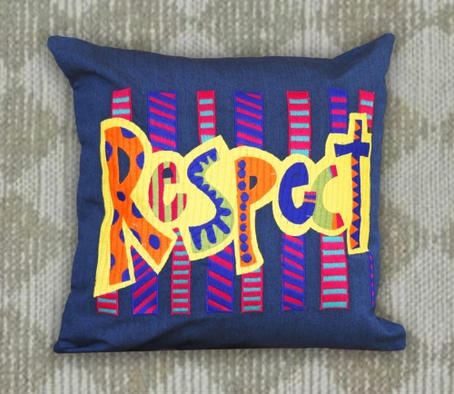 Respect Embroidery on Blue Cushion cover
