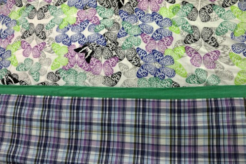 Purple Green Black Butterflies with Check Double Dohar