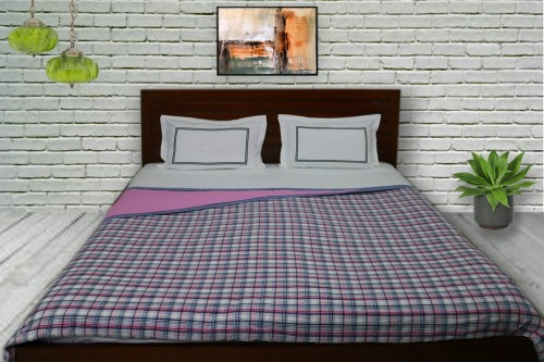 Pink Plain and Check Double Dohar