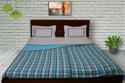 Turquoise Blue and Gray check and plain Double Dohar