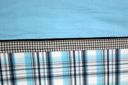 Turquoise Blue and Gray check and plain Extra large single Dohar
