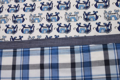 Blue Elephants with Blue Gray Check Double Dohar