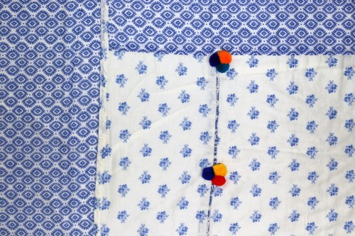 Blue and Offwhite Single Dohar with pom poms