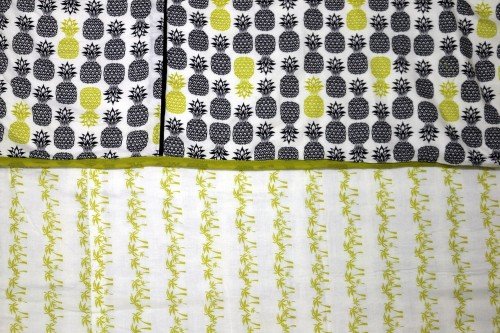 Green Black Pinapple and Palm print Single Dohar