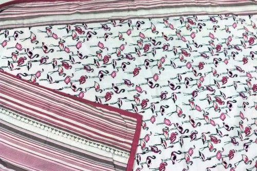 Pink Pelicans and Striped Single Dohar