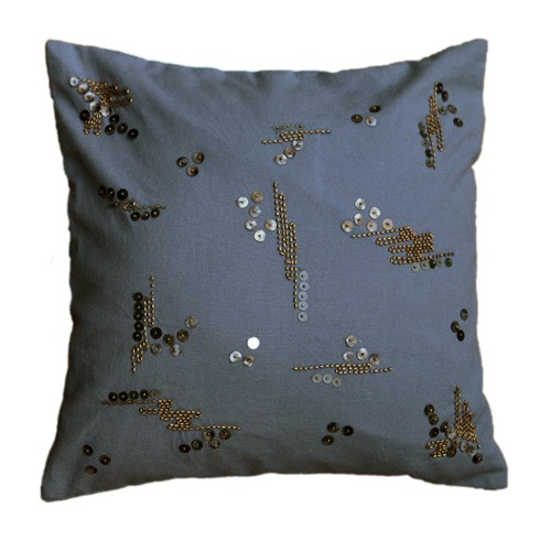 Gray  Sequined Cushion Cover