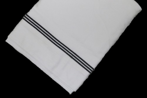 White Top sheet  with Charcoal line embroidery
