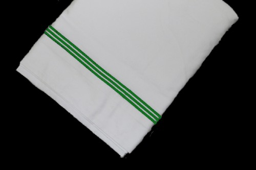 White Top sheet  with Green line embroidery