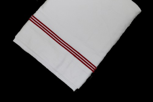 White Top sheet  with Maroon line embroidery
