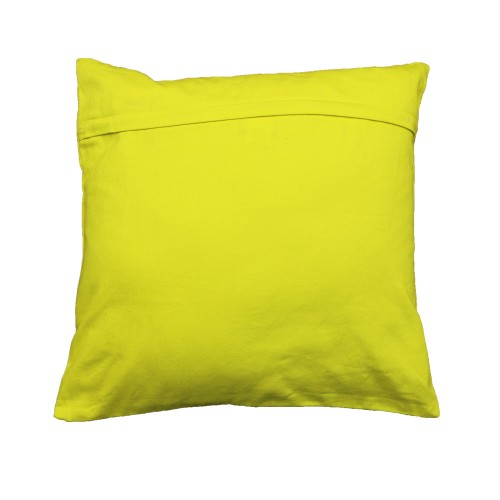 Yellow sequined cushion cover
