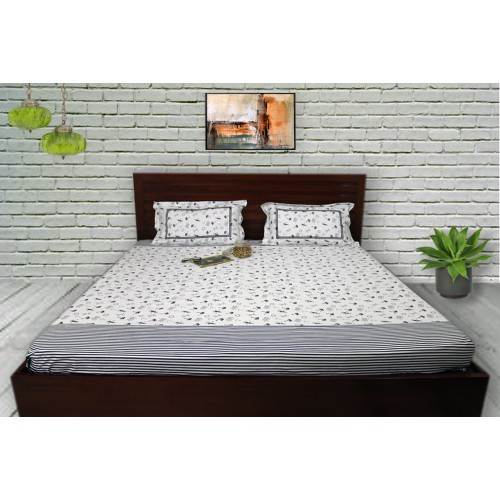 Navy blue marine print with striped panels on White Bedsheet